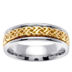14k White Gold Mens Celtic Wedding Band