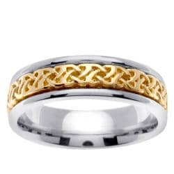 14k Two-tone Gold Celtic Woven Design Men's Wedding Band