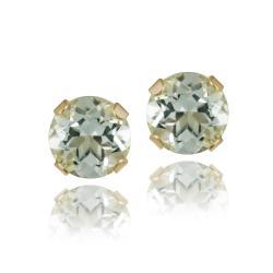 Glitzy Rocks 14k Yellow Gold Green Amethyst 4/5ct TGW 5-mm Stud Earrings