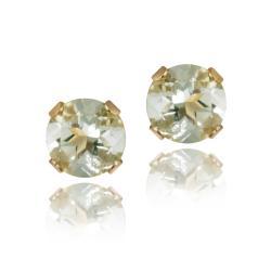 Glitzy Rocks 14k Yellow Gold Green Amethyst 1/2ct TGW 4-mm Stud Earrings