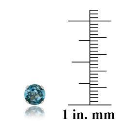 Glitzy Rocks Sterling Silver 2 1/10ct TGW London Blue Topaz 6-mm Stud Earrings - Thumbnail 2