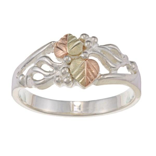 Black Hills Gold over Silver Leaf Ring