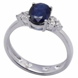 De Buman 18k Gold and Silver Oval-cut Sapphire and Cubic Zirconia Ring (Size 7)