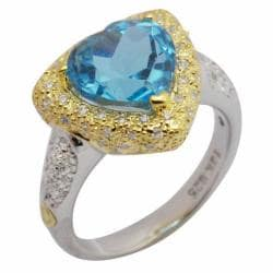 De Buman 18K Gold and Silver Blue Heart-shaped Topaz and Cubic Zirconia Ring - Thumbnail 1