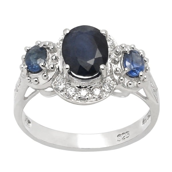 De Buman Sterling Silver Oval-cut Sapphire and Round-cut Cubic Zirconia Ring (Size 7)