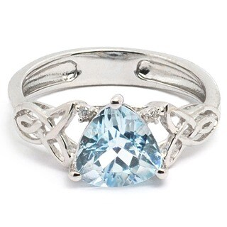 De Buman 18K Gold and Silver Blue Topaz and Cubic Zirconia Designer Ring