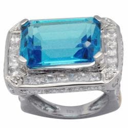 De Buman 18K Gold and Silver Blue Rectangle-cut Prong-set Topaz and Cubic Zirconia Ring
