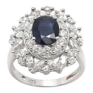 De Buman Sterling Silver Blue Sapphire and Cubic Zirconia Ring (Size 7)