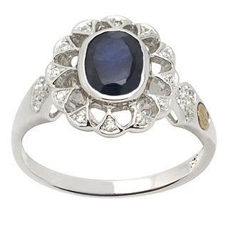 De Buman 18k Gold and Sterling Silver Blue Sapphire and Cubic Zirconia Ring (Size 7)