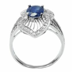 De Buman 18k Gold and Sterling Silver Oval-cut Sapphire and Cubic Zirconia Ring - Thumbnail 1