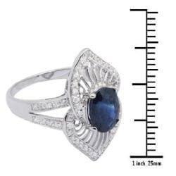 De Buman 18k Gold and Sterling Silver Oval-cut Sapphire and Cubic Zirconia Ring - Thumbnail 2