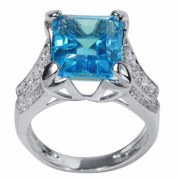De Buman 18K Gold and Silver Blue Rectangle Topaz and Round Prong-set Cubic Zirconia Ring
