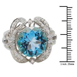 De Buman 18K Gold and Silver Blue Round-cut Topaz and Cubic Zirconia Ring - Thumbnail 2