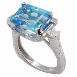 De Buman 18K Gold and Silver Blue Rectangle-and-square-cut Topaz and Cubic Zirconia Ring - Thumbnail 1