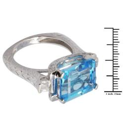 De Buman 18K Gold and Silver Blue Rectangle-and-square-cut Topaz and Cubic Zirconia Ring - Thumbnail 2