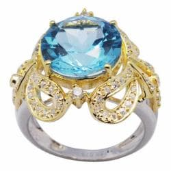 De Buman 18K Gold and Silver Blue Round Topaz and Cubic Zirconia Engagement Ring