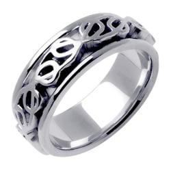 14k White Gold Celtic Men's Wedding Band - Thumbnail 1