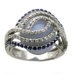 Beverly Hills Charm 14k White Gold Blue Sapphire/ Agate and 3/4ct TDW Diamond Ring