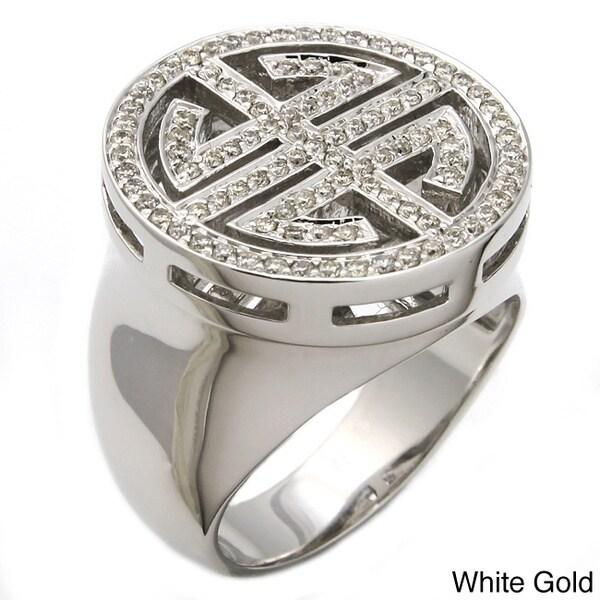 Beverly Hills Charm 14k Gold 1/2ct TDW Chinese 'Long Life' Diamond Ring (H-I, I1) (Size 7)