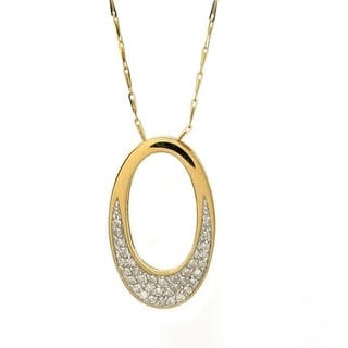 14k Yellow Gold 1/3ct TDW Oval Diamond Necklace