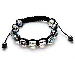 Bleek2Sheek New Clear Crystal Disco Ball Macrame Weave Adjustable Bracelet