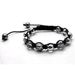 Silver Disco Ball Macrame Bracelet