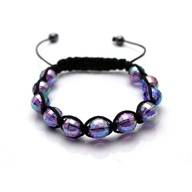 Purple Acrylic-bead Disco Ball Macrame Bangle Bracelet