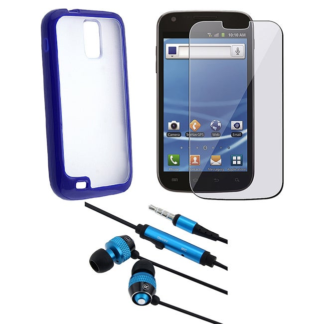 BasAcc Blue TPU Case/ Headset/ Screen Protector for Samsung T989