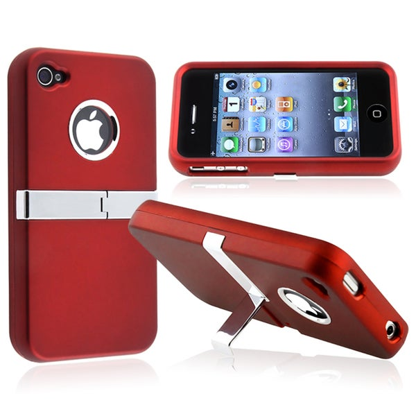 Red with Chrome Stand Stand Snap-on Case for Apple iPhone 4/ 4S