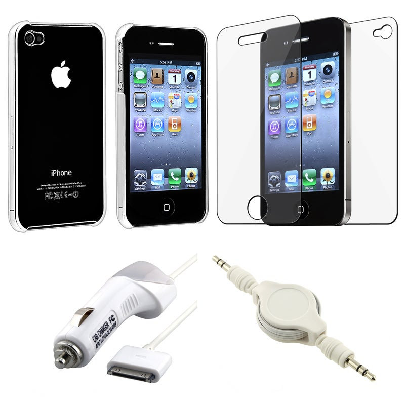 INSTEN Phone Case Cover/ Screen Protector/ Car Charger/ Audio Cable for Apple iPhone 4S