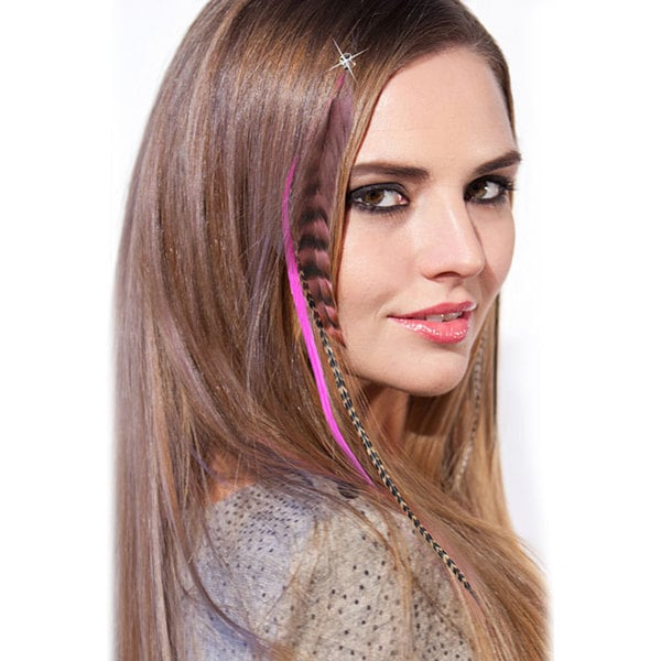 Shop Hairdiamond Clip In Feather Hair Extension In Pink Tones With