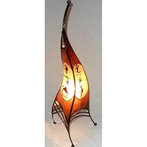 Moroccan Sahara Leather Single Light Table Lamp , Handmade in Morocco
