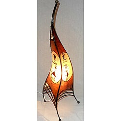 Moroccan Sahara Leather Single Light Table Lamp , Handmade in Morocco