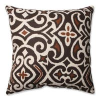 Laurel Creek Ashton Decorative Brown/ Beige Damask Square Toss Pillow