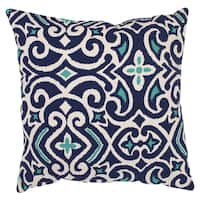 Clay Alder Home Kent Trails Decorative Blue and White Damask 16.5-inch Square Throw Pillow