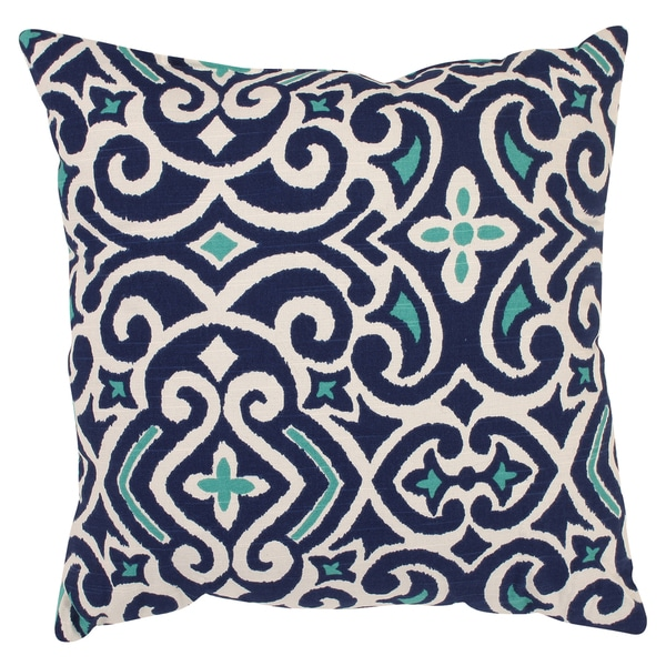 Porch & Den Kent Trails Decorative Blue and White Damask 16.5-inch Square Throw Pillow