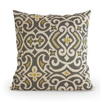 Pillow Perfect Decorative Grey/ Yellow Damask Square Toss Pillow