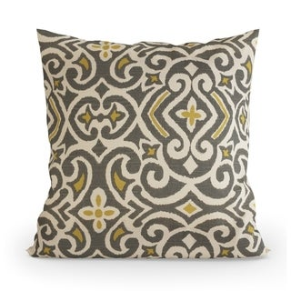Pillow Perfect Decorative Grey/ Citron Damask Square Toss Pillow