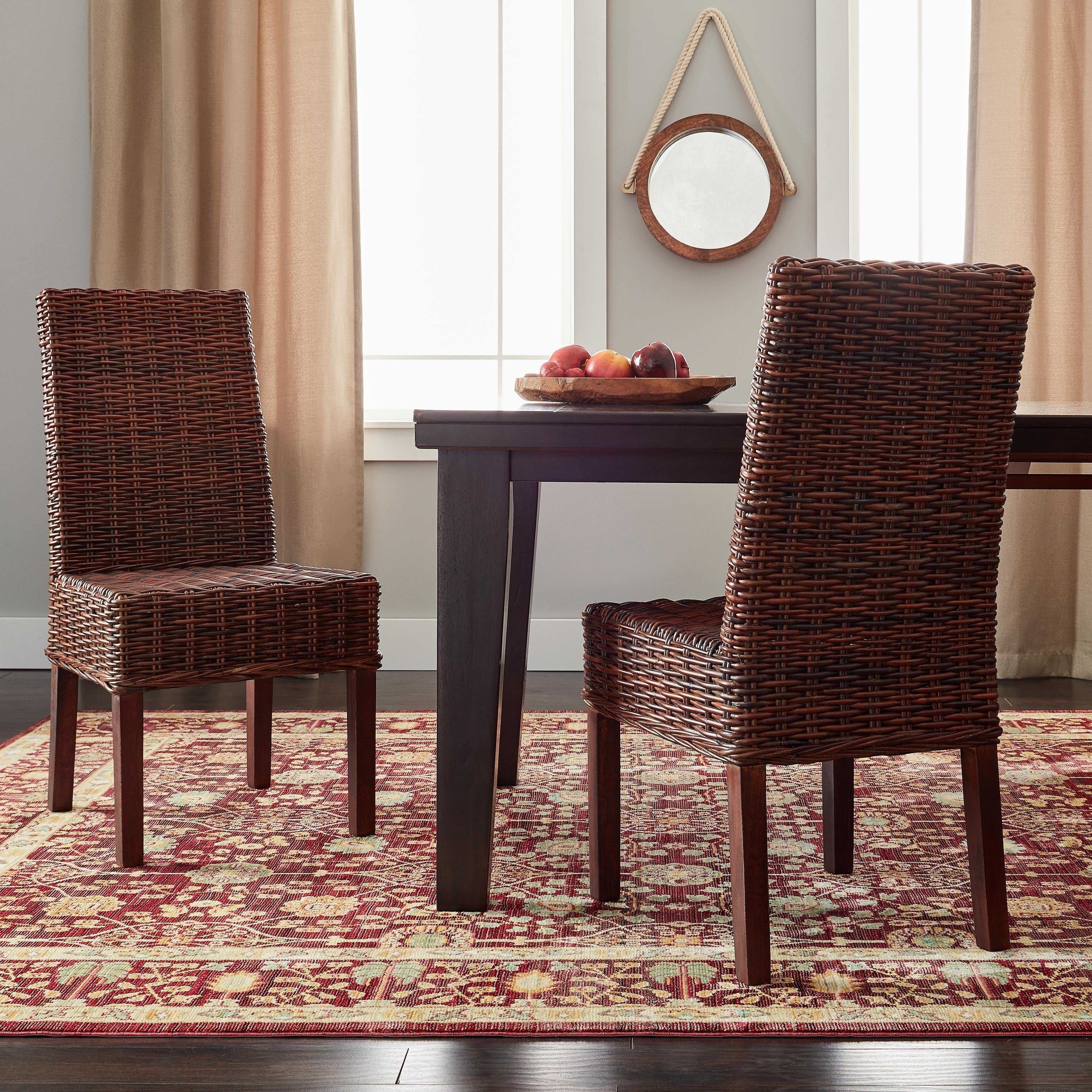 Details about safavieh woven wicker dining st thomas light brown dining chairs set of 2