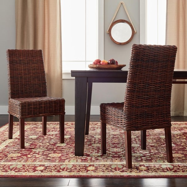Safavieh Woven Wicker Dining St. Thomas Light Brown Dining Chairs (Set Of 2)