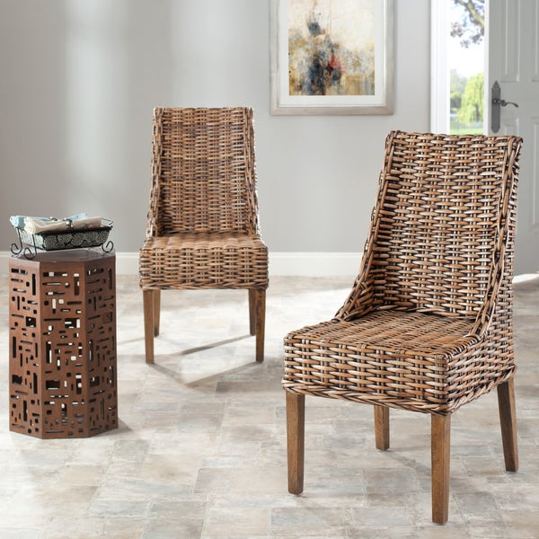 Beau Safavieh Rural Woven Dining St Thomas Indoor Wicker Brown Sloping Arm Chairs  (Set Of 2