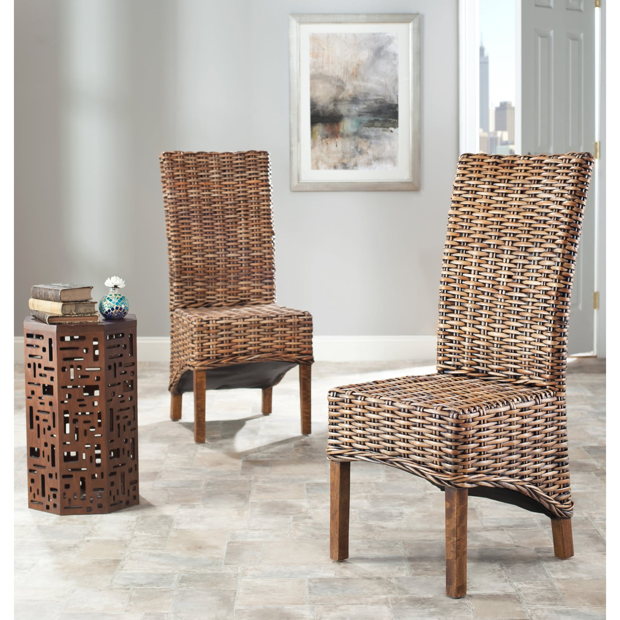 Safavieh Dining Rural Woven St Thomas Isla Wicker Brown High Back Dining Chairs Set Of 2