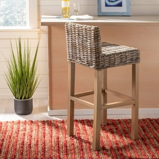 Safavieh 30-inch St Grey/ Beige Wicker Bar Stool