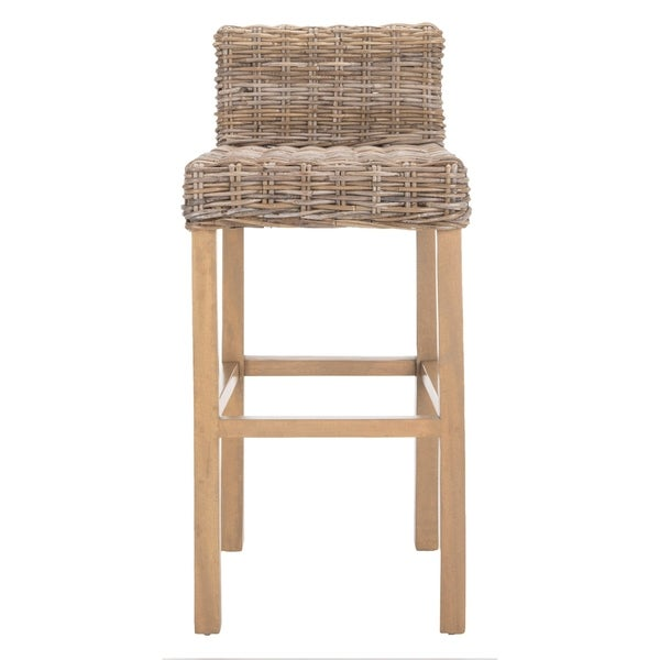 Shop Safavieh 30 Inch St Grey Beige Wicker Bar Stool On