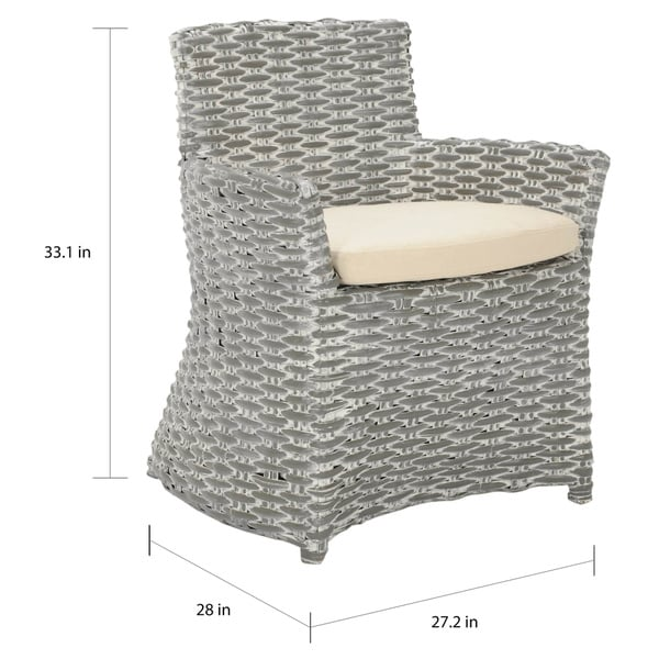 """Safavieh Dining Rural Woven St. Thomas Wicker Washed-out Grey Arm Chair - 28"""" x 24.4"""" x 33.1"""""""