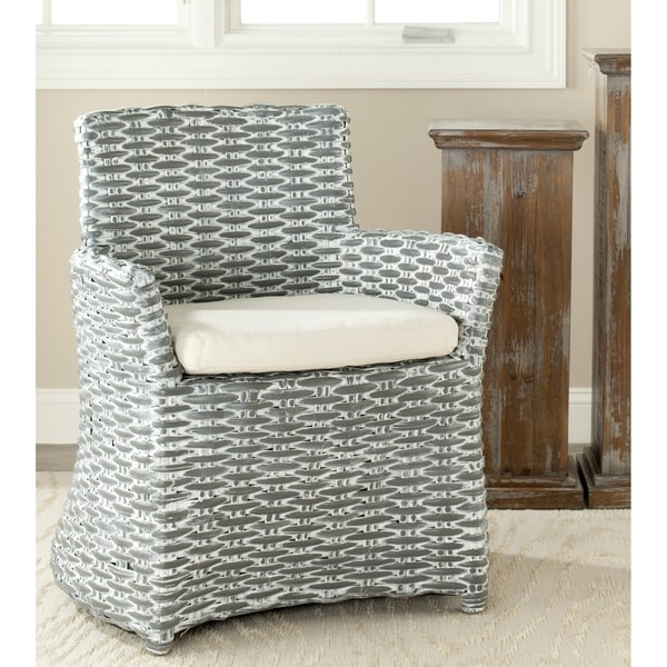 Safavieh Rural Woven Dining St Thomas Indoor Wicker Washed Out Grey Arm  Chair