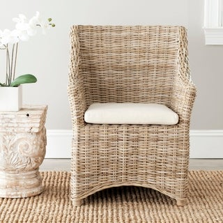 Safavieh Rural Woven Dining St Thomas Indoor Wicker Washed-out Brown Wing Back Arm Chair