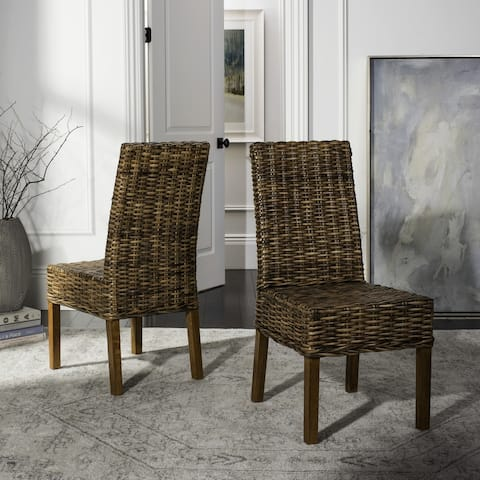 "Safavieh Dining Rural Woven St. Thomas Wicker Brown Dining Chairs (Set of 2) - 21.7"" x 19.3"" x 38.6"""