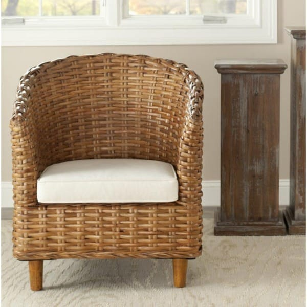 Safavieh St. Thomas Indoor Wicker Honey Brown Barrel Chair - Free ...