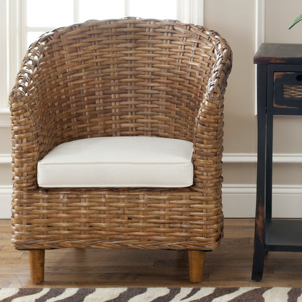safavieh st thomas indoor wicker honey brown barrel chair free
